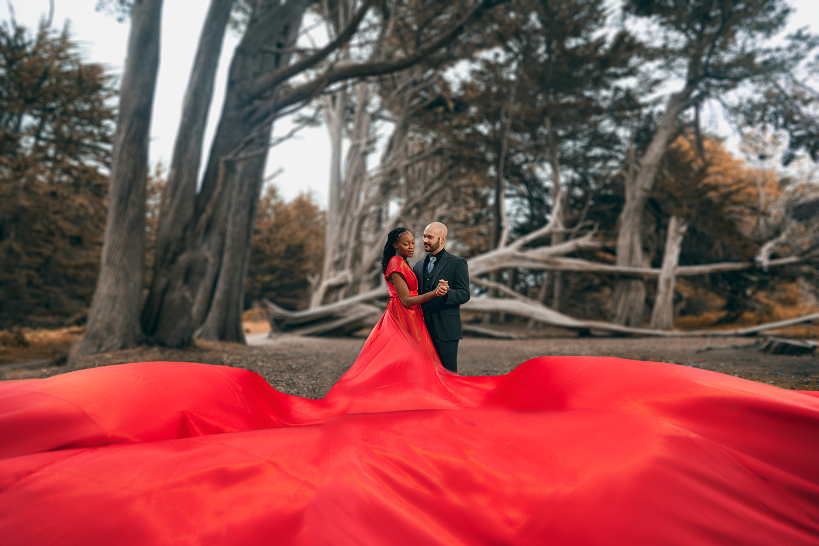 Flying Red Dress Couples Photoshoot Moss Beach