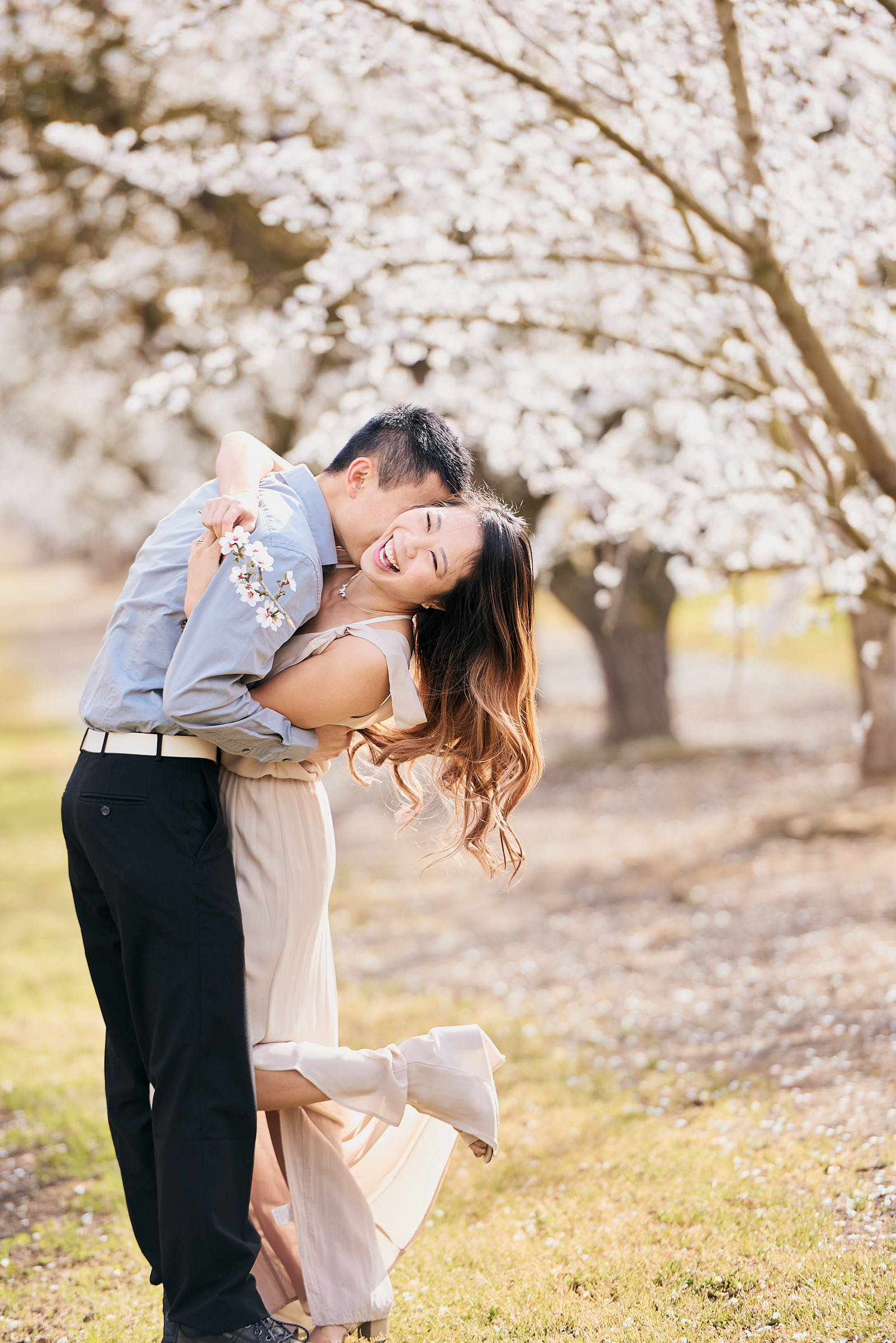Cute Couple Photos At Almond Blossom Bay Area Location