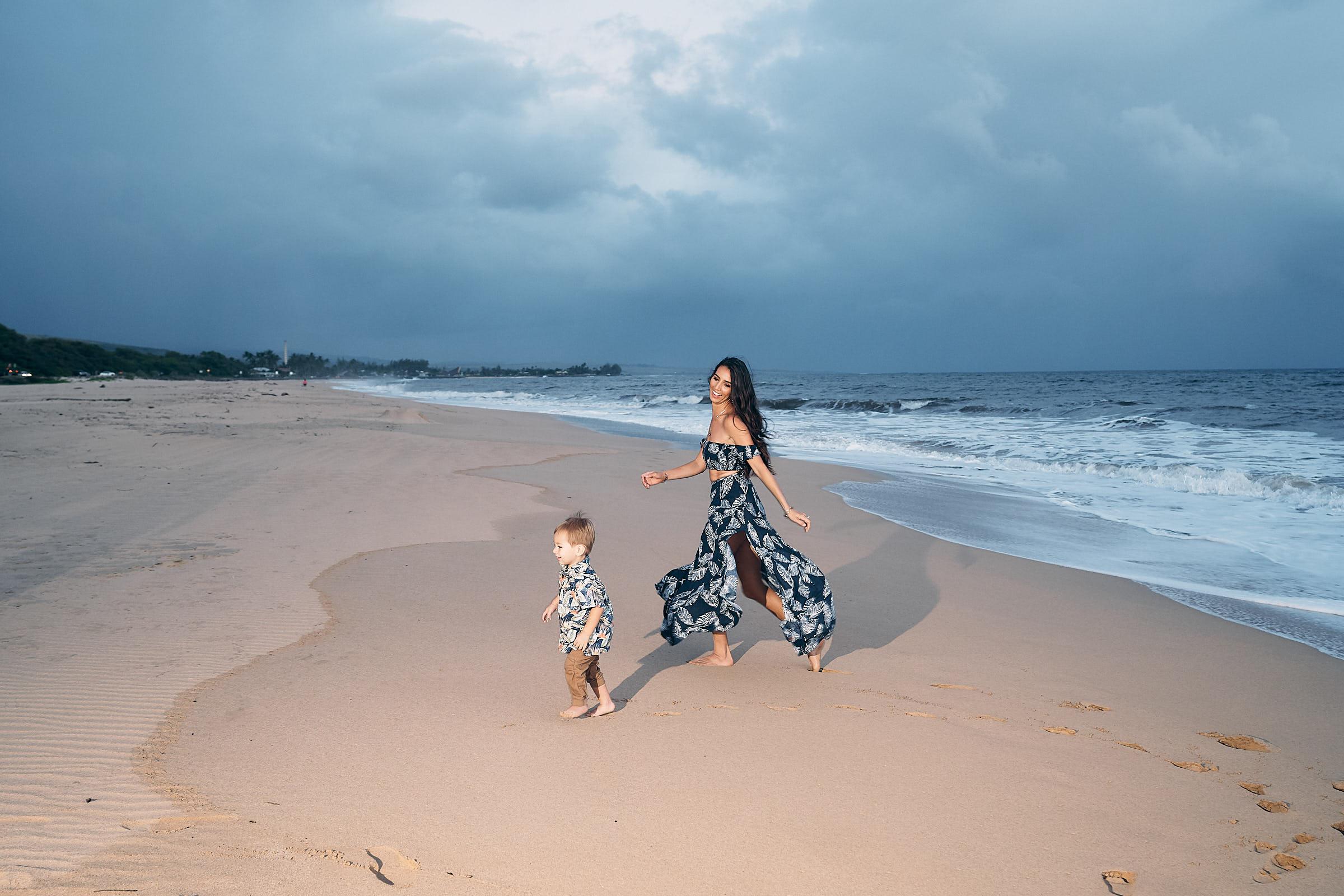 Kauai Beach Family Pictures Mom With Son