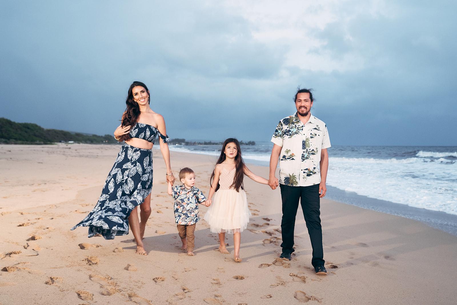 Cute Family Holding Hands Kauai Photos