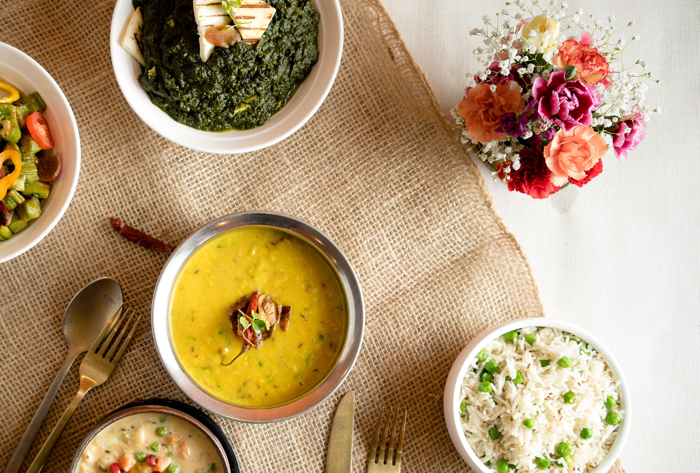 Indian Food Dinner Table Flat Lay Photo