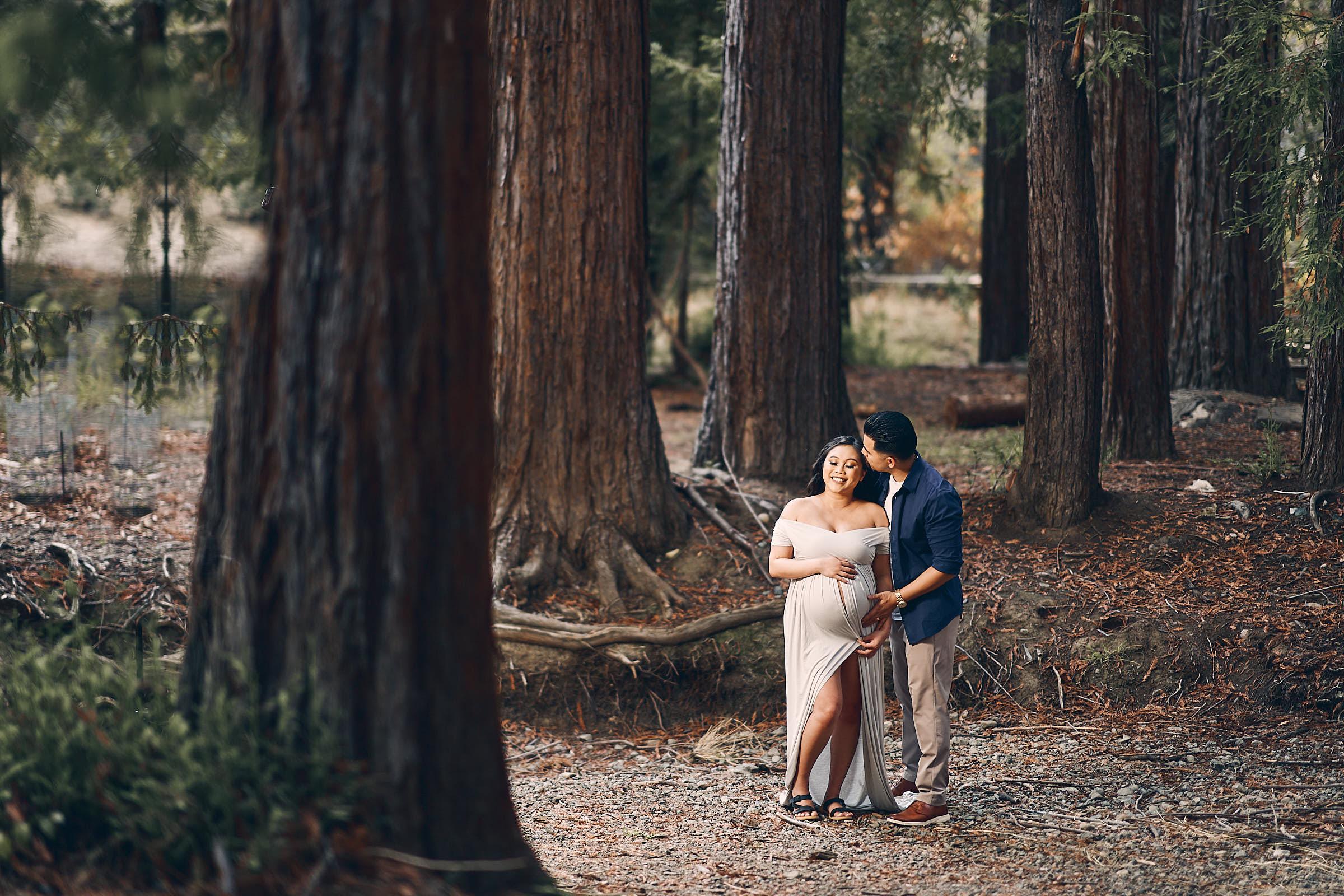 Couples Poses Maternity Photoshoot Redwoods Trees Palo Alto