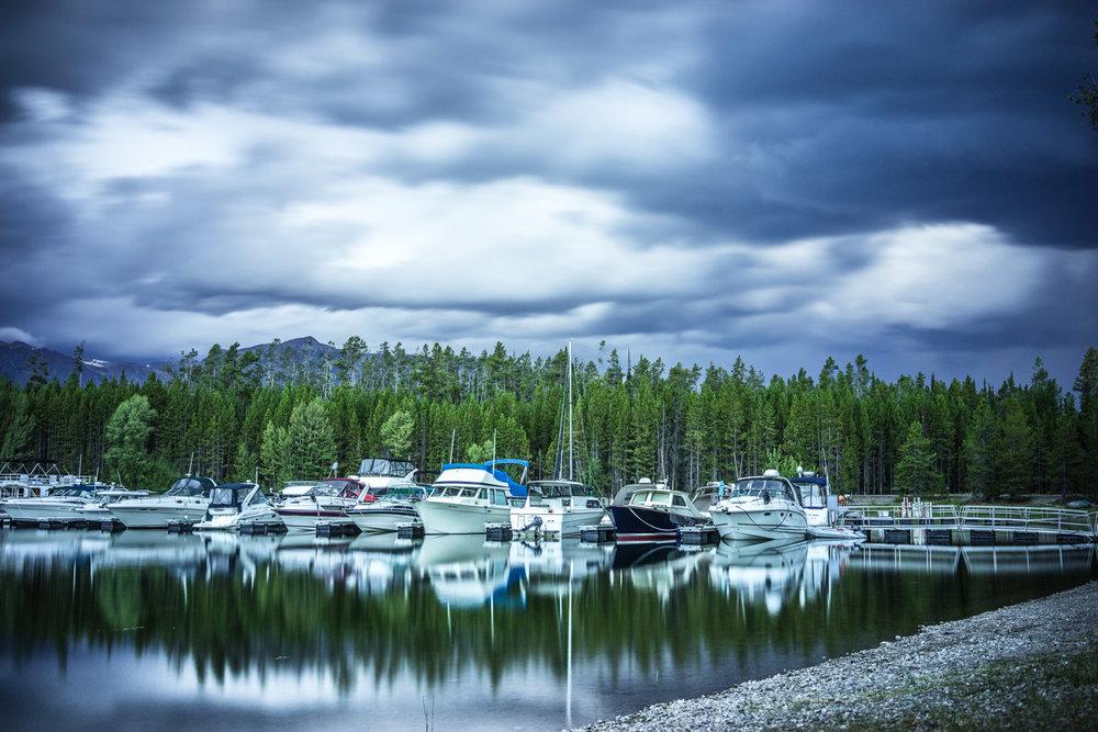 Colter Bay Harbour Thunderstorm Usa Travel Destination