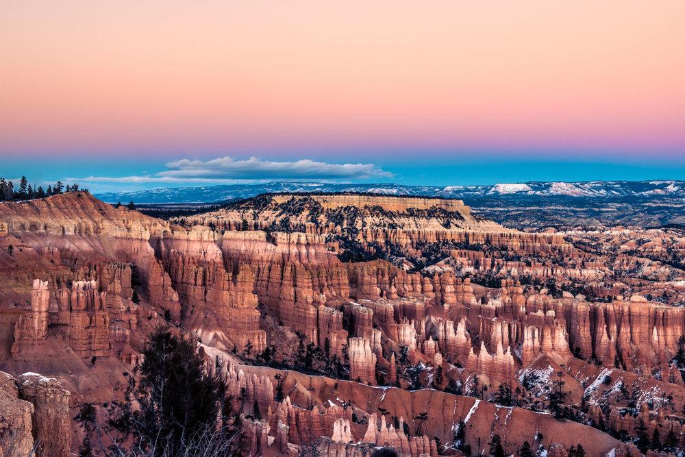 Bryce Canyon National Park Usa Pink Sky Sunset Photography