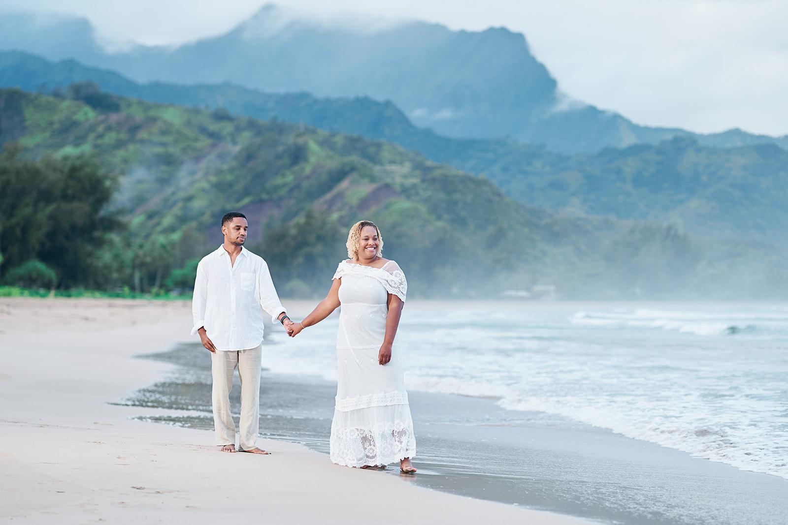 Kauai Wedding Couple Portraits Hanalei Beach