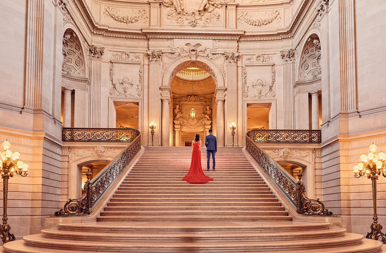 Grand Staircase Bride Groom Walking Aisle Sf City Hall